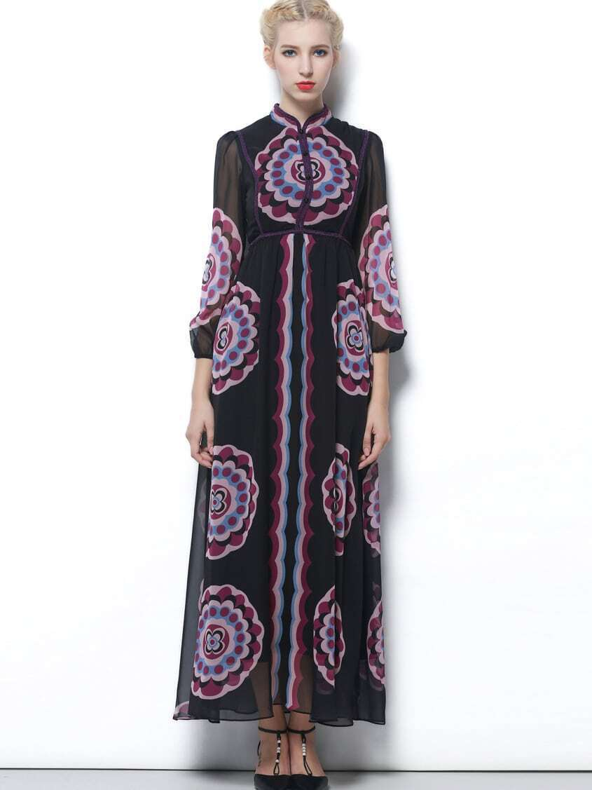 Black Round Neck Length Sleeve Print Dress