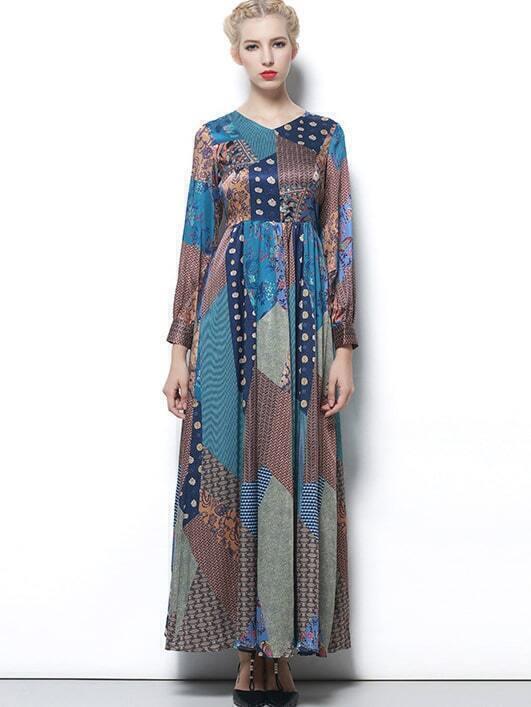 Multicolor Round Neck Long Sleeve Print Dress