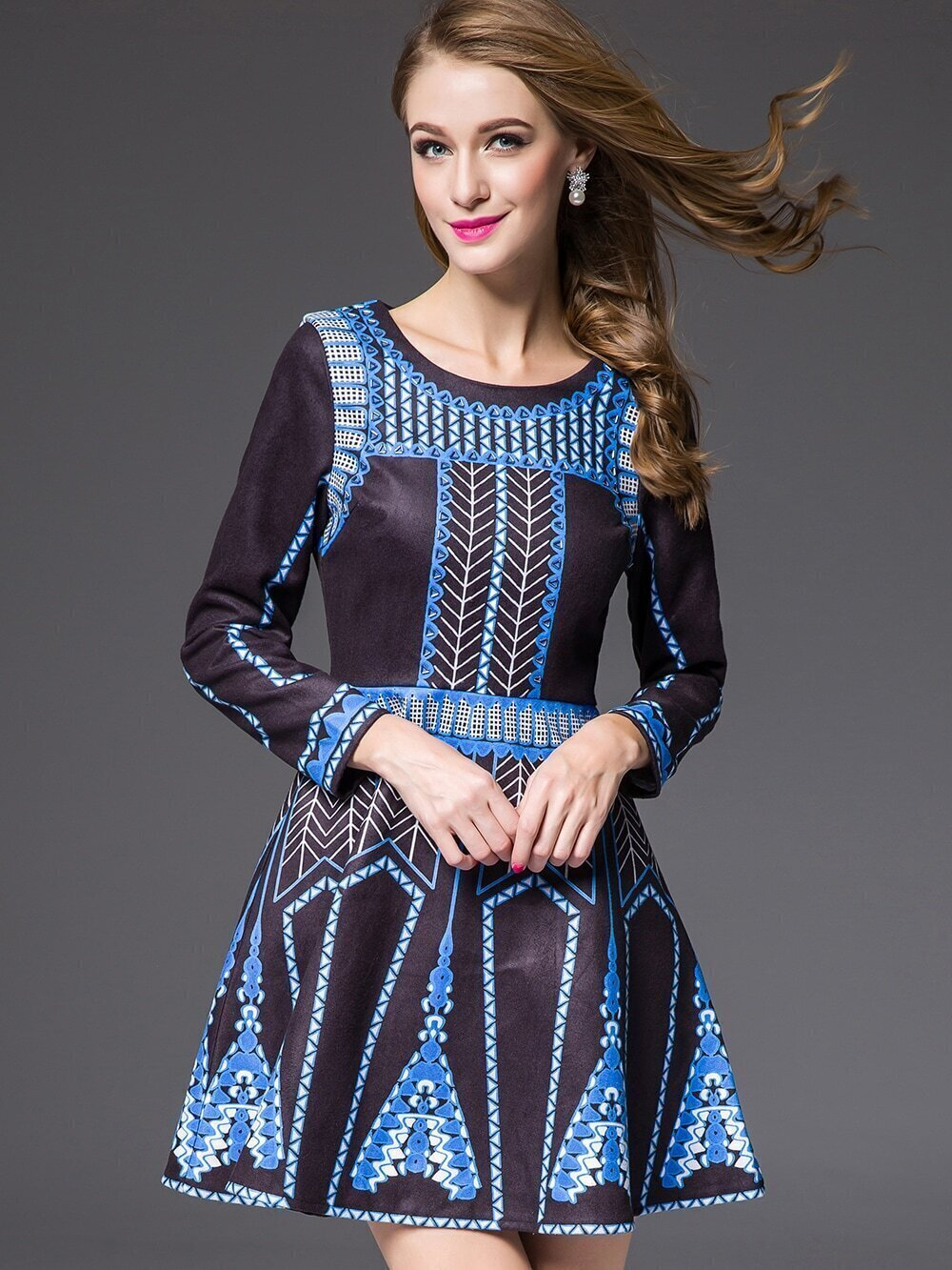 Blue Black Round Neck Long Sleeve Print Dress