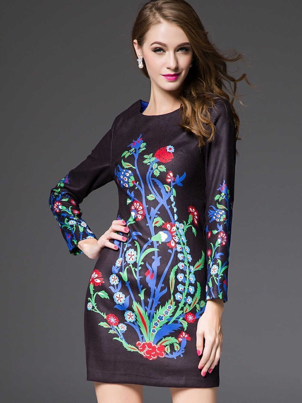 Black Round Neck Long Sleeve Print Dress