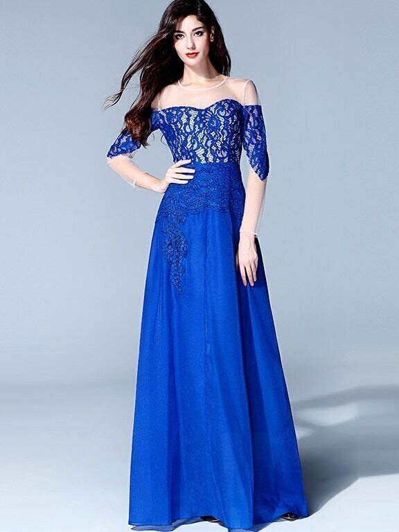 Blue Round Neck Long Sleeve Contrast Gauze Lace Dress