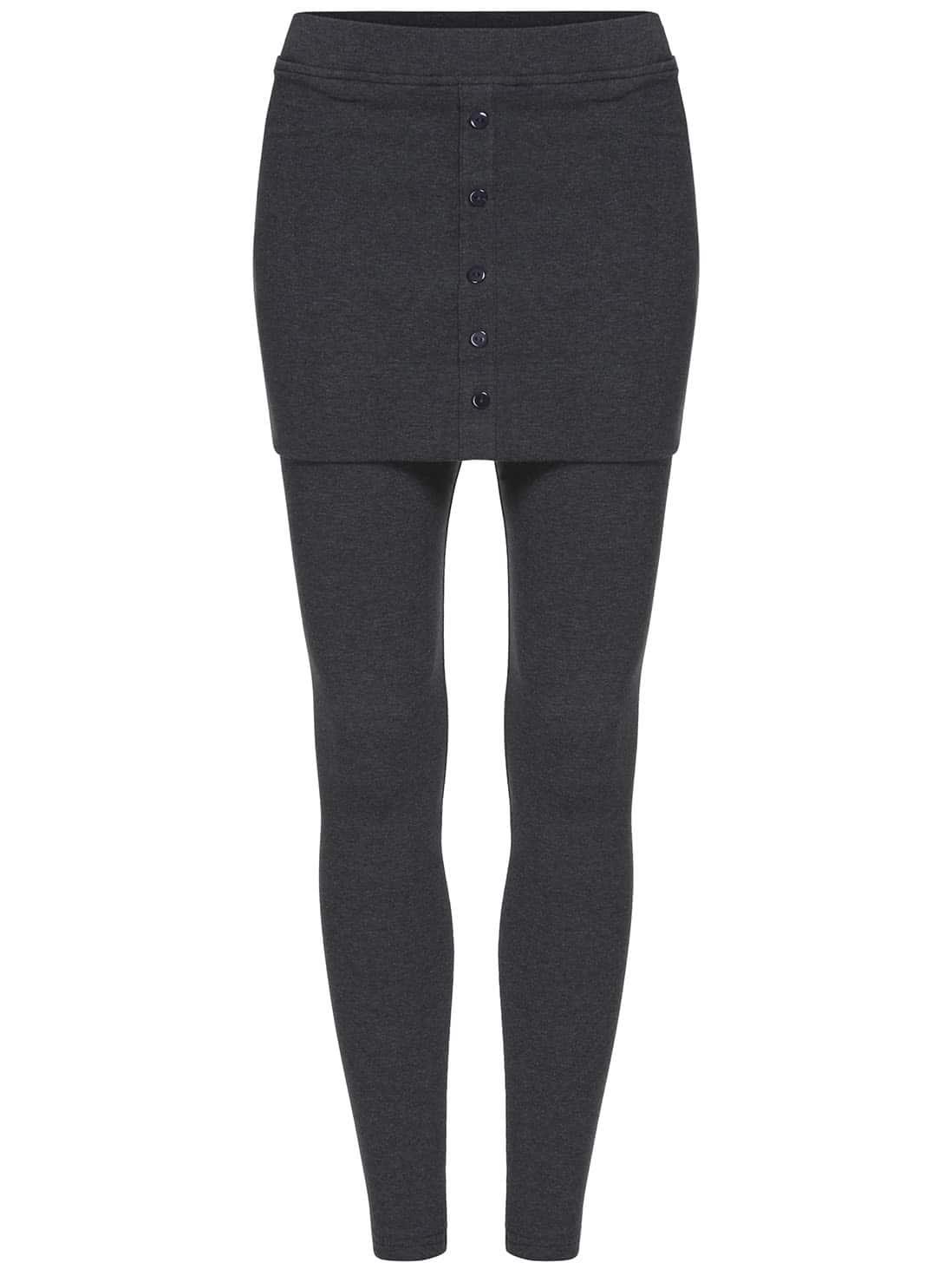 Dark Grey Skinny Buttons Skirt Leggings