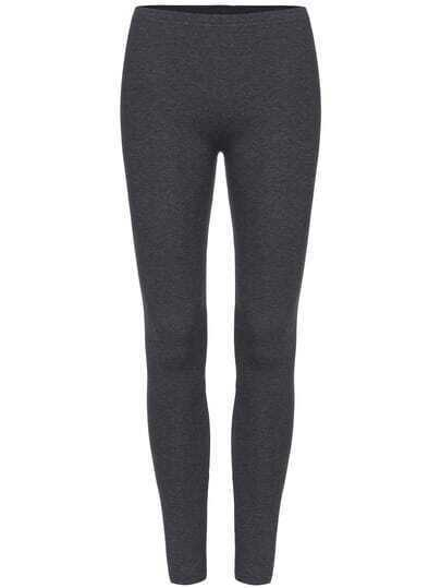 Grey Slim Elastic Leggings