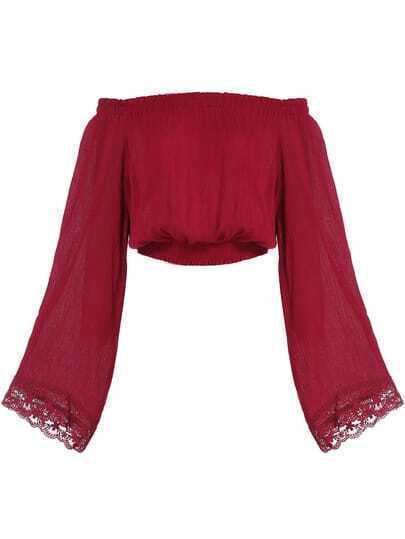 Wine Red Boat Neck Bell Sleeve Crop Blouse