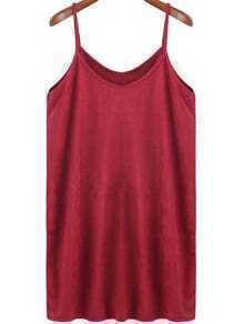 Red Spaghetti Strap Loose Dress