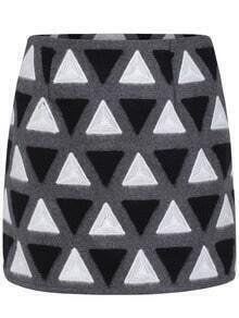 Black White Triangle Print Slim Skirt