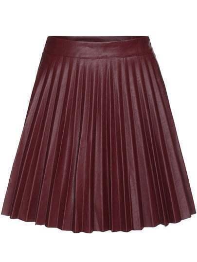 Wine Red Pleated PU Skirt
