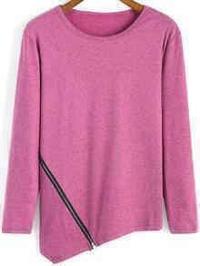 Red Round Neck Zipper Asymmetrical T-Shirt