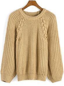 Khaki Round Neck Weave Loose Sweater