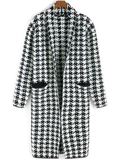 Black White Long Sleeve Houndstooth Pockets Sweater Coat