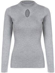 Grey Stand Collar Hollow Slim Knitwear