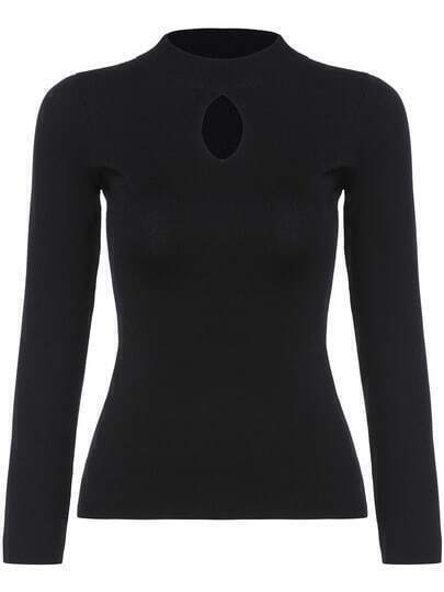 Black Stand Collar Hollow Slim Knitwear
