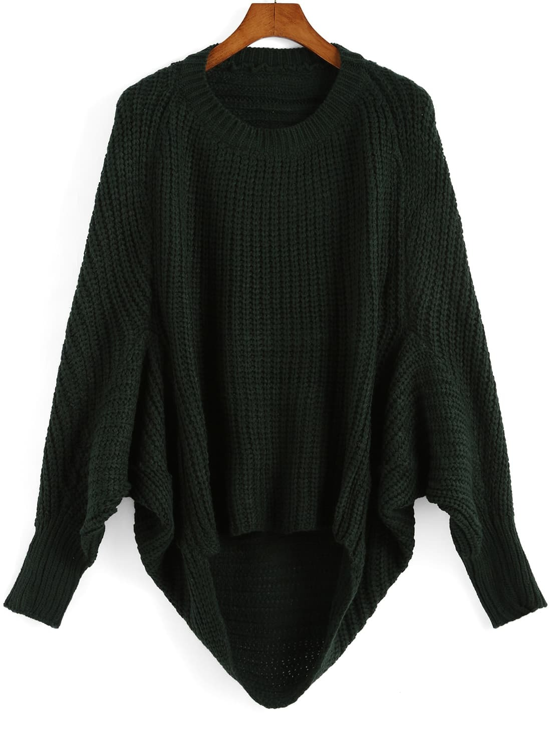 Green Round Neck Batwing Sleeve Dip Hem Sweater