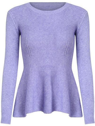 Purple Round Neck Ruffle Knit Sweater