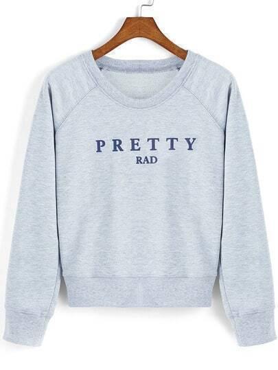 Grey Round Neck Letters Print Crop Sweatshirt