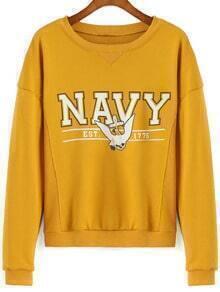 Yellow Round Neck Letters Print Crop Sweatshirt