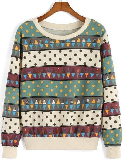 Multicolor Round Neck Polka Dot Sweatshirt