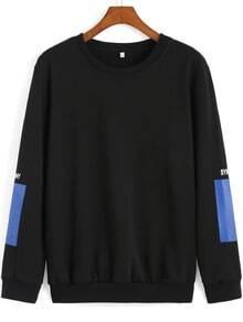 Black Round Neck Sleeve Patch Loose Sweatshirt