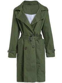 Green Lapel Double Breasted Belt Trench Coat
