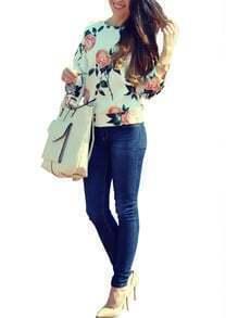 Multicolor Round Neck Floral Loose Sweatshirt