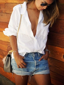 White Lapel Long Sleeve Pocket Loose Blouse