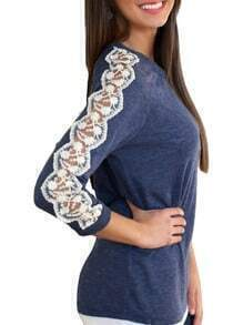 Blue Round Neck Lace Slim T-Shirt