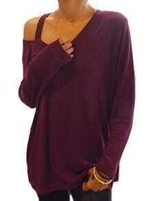 Wine Red Asymmetrical Collar Loose T-Shirt