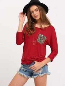 Wine Red Round Neck Pocket Loose T-Shirt