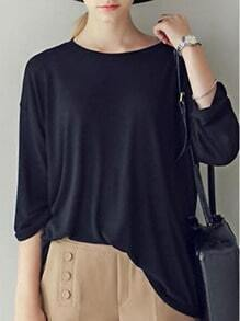 Black Round Neck Cotton Loose T-Shirt