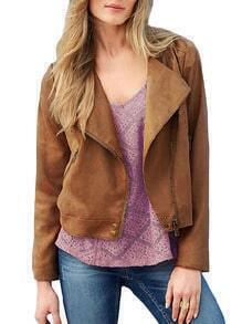 Khaki Long Sleeve Oblique Zipper Crop Jacket