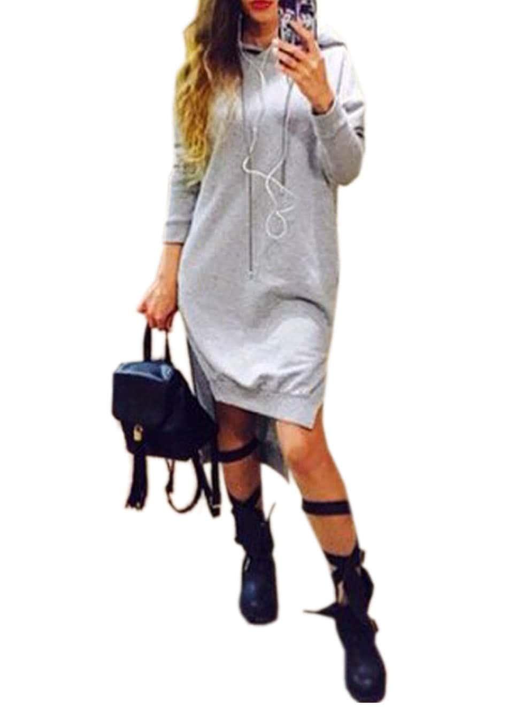 Grey Hooded Long Sleeve High Low Sweatshirt Dress
