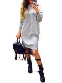 Grey Hooded Long Sleeve High Low Sweatshirt Dress