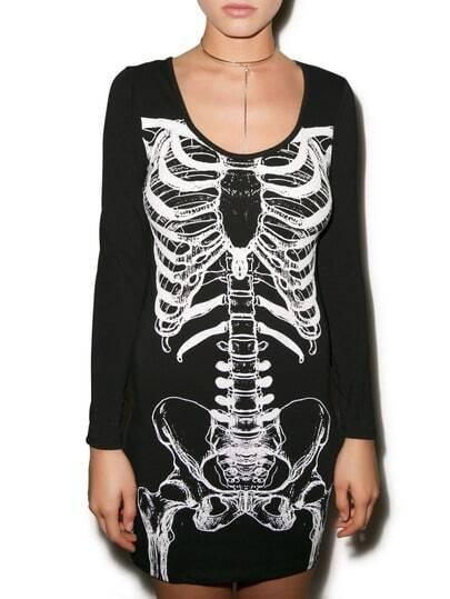 Black White Long Sleeve Skeleton Print Dress pictures