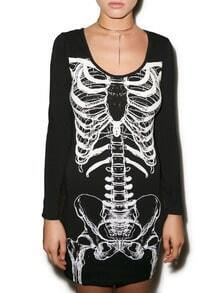 Black White Long Sleeve Skeleton Print Dress