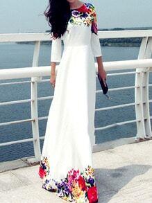 Multicolor Round Neck Floral Maxi Dress