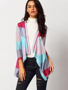 Multicolor Long Sleeve Loose Knit Cardigan