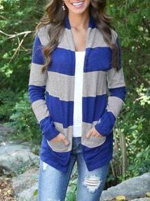 Blue Grey Long Sleeve Striped Cardigan