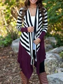Purple White Long Sleeve Striped Cardigan