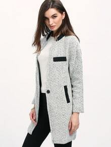 Grey Long Sleeve Single Button Loose Coat