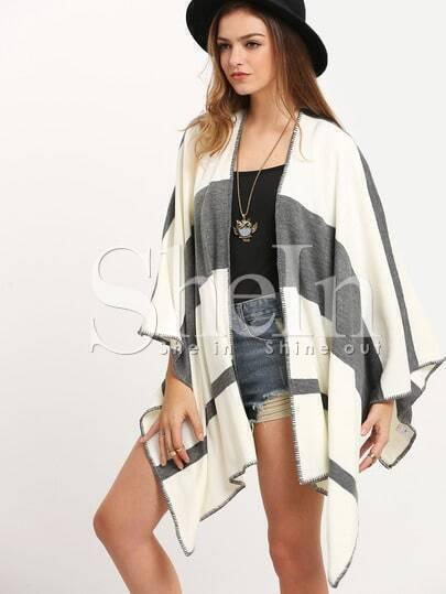 White Grey Color Block Cardigan Sweater