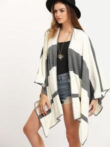 White Grey Color Block Cardigan Sweater