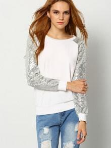 White Round Neck Sequined Sweatshirt