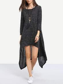 Black Round Neck Asymmetric Dress