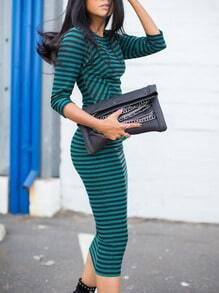 Black Green Round Neck Striped Dress