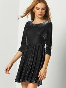 Grey Round Sleeve Pleated Dress