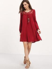 Wine Red Long Sleeve Crochet Lace Dress