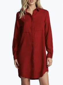 Wine Red Lapel Buttons Shirt Dress