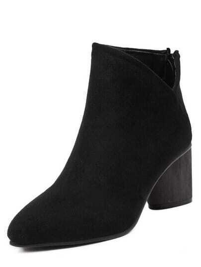 Black Pointy Cutout Zipper Back Chunky Boots
