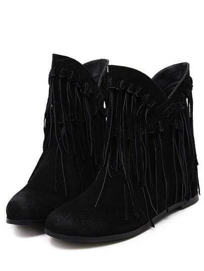 Black Round Toe Tassel Boots pictures