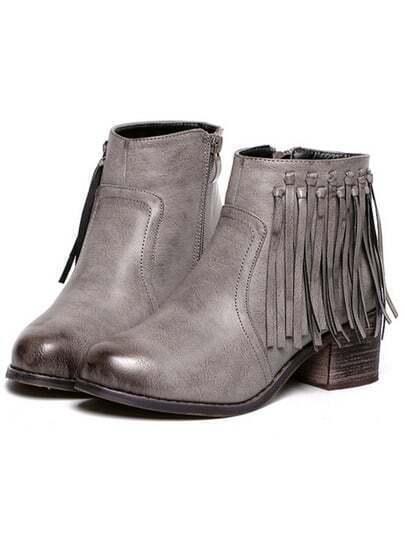 Grey Brush Round Toe Tassel Zipper Boots